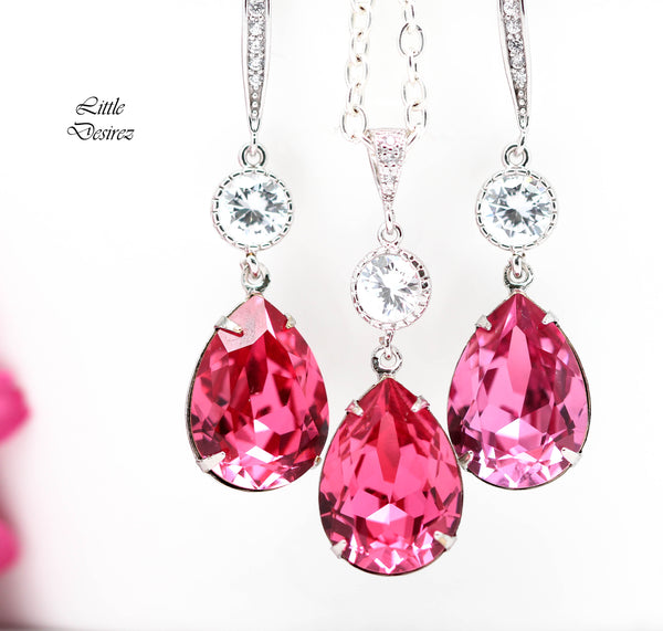 Silver Necklace Rose Pink Swarovski Crystal Necklace RP-31