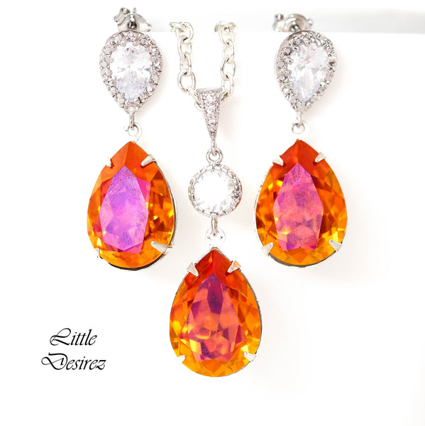 Orange & Pink Jewelry Set Swarovski Astral Pink AP-31
