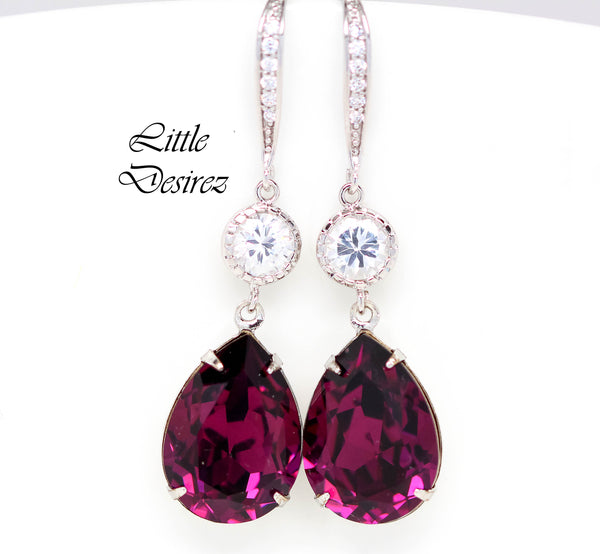 Dangle Earrings Amethyst Crystal Teardrop Stone AM-31-HC