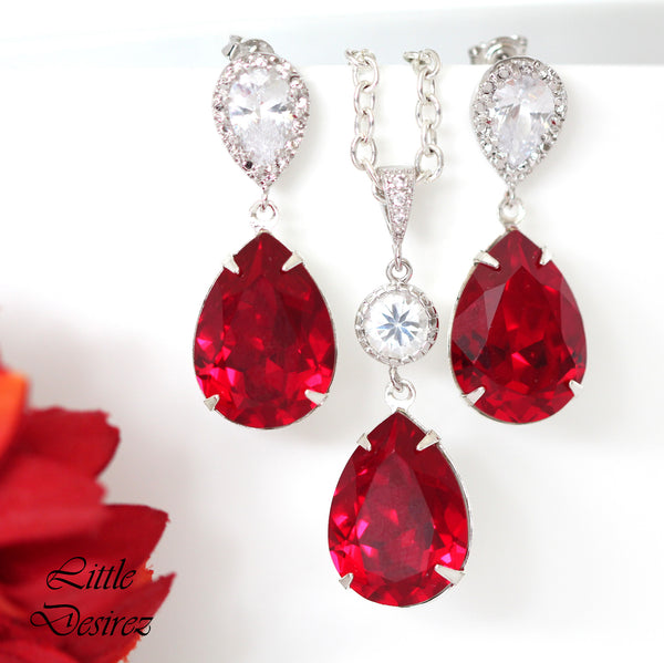 Red Crystal Dangle Earrings SI-31
