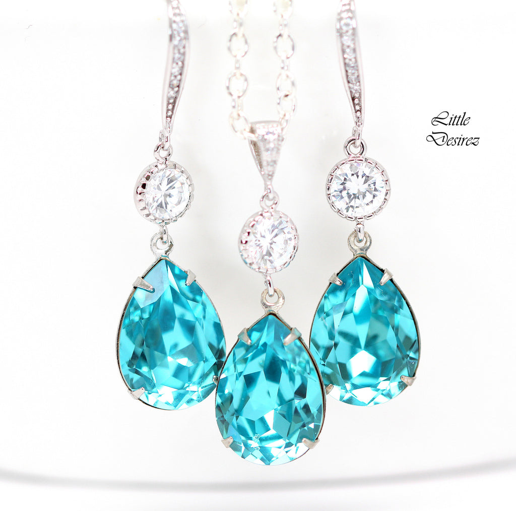 Wedding Jewelry Earrings and Necklace Set Turquoise Blue TQ-31