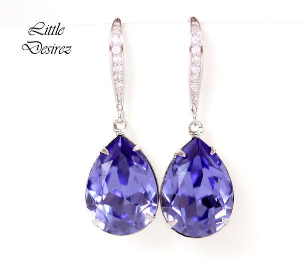 Teardrop Earrings Purple Crystal Earrings Bridesmaid Earrings TZ-31