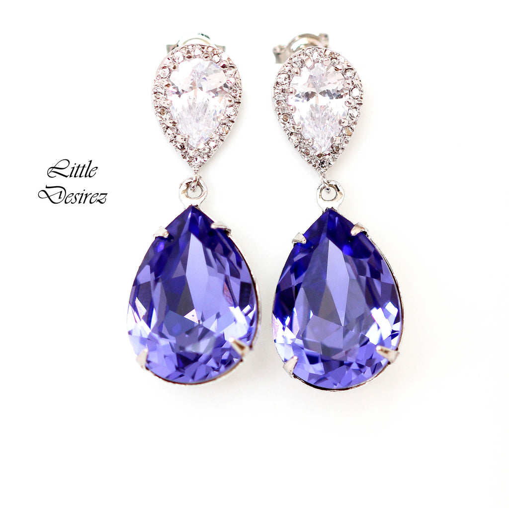 CZ Earrings Post Earrings Tanzanite Dangle Earrings TZ-31