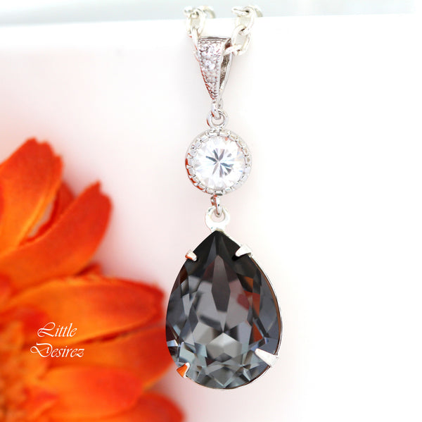 Charcoal Grey Swarovski Crystal Sterling Silver Necklace SN-31