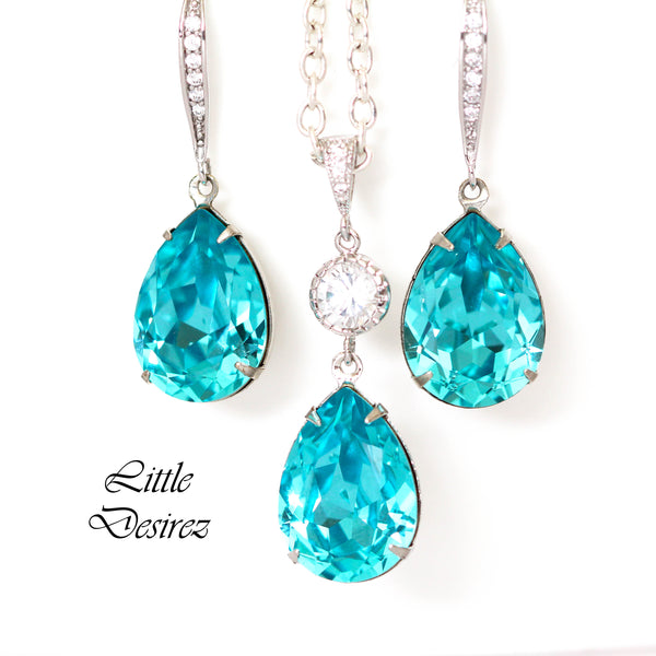 Bridal Crystal Necklace Blue Pendant Turquoise Pendant TQ-31