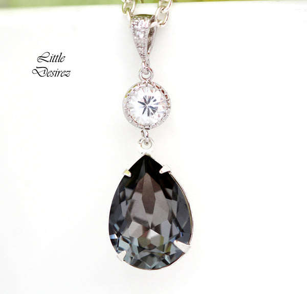 Charcoal Grey Necklace SN-31