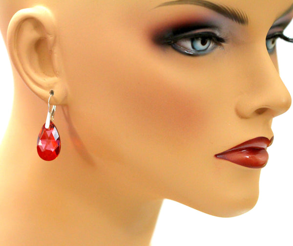 Red Crystal Lever back Earrings RM-32