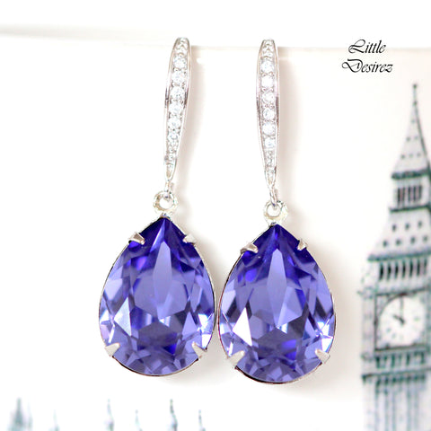 Purple Crystal Earrings TZ-31