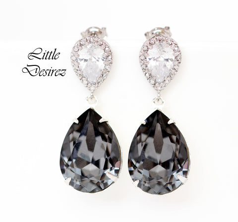 Charcoal Grey Earrings Silver Night SN-31