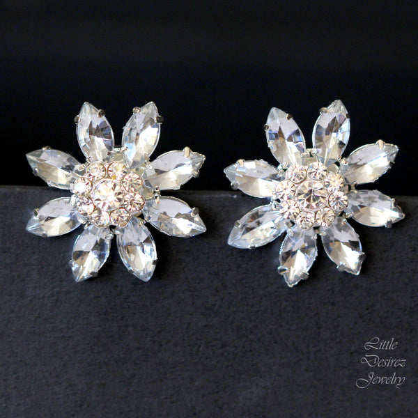 Rhinestone Crystal Flower Earrings ANASTASIA