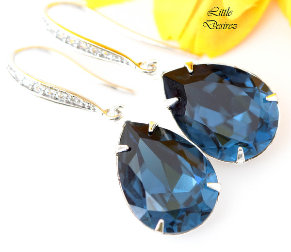 Navy Blue Earrings MO-31-H