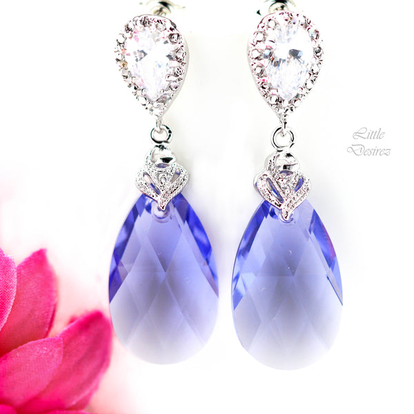 Purple Earrings Bridesmaid Gift Dangle Earrings TZ-32