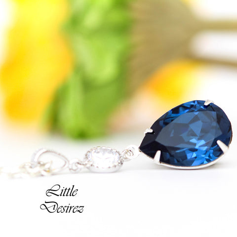 Navy Blue Jewelry Swarovski Navy Blue Necklace Teardrop Pendant MO-31