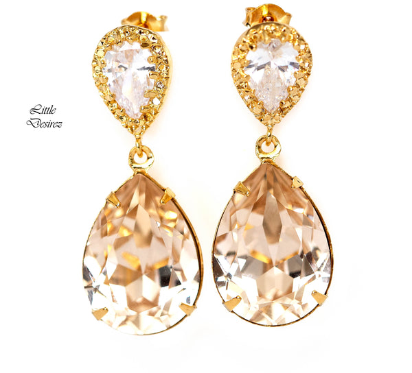 Champagne Earrings Light Silk Earrings CH-31