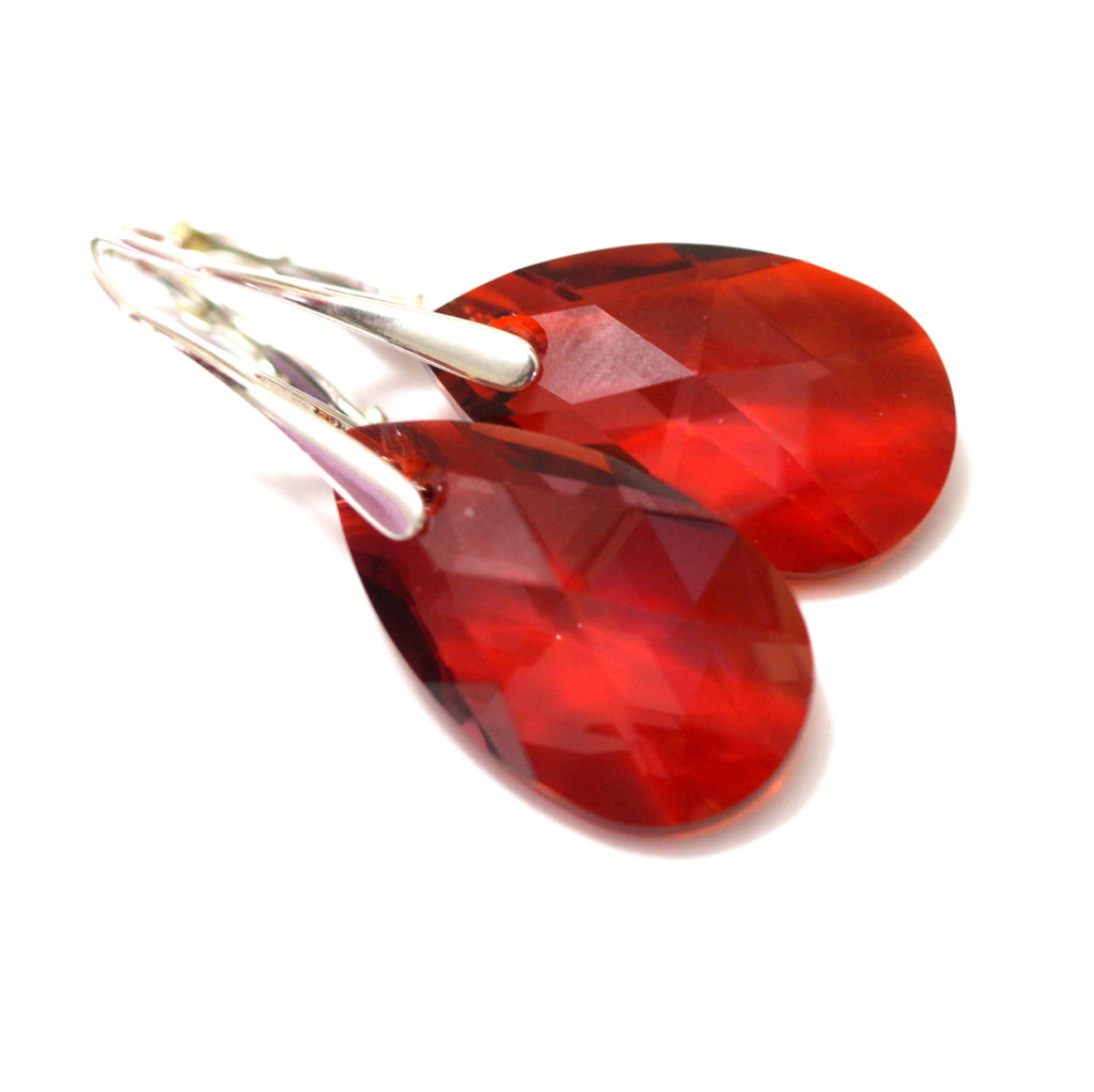 jewelry red crystal earrings klein product on metallic normal drop lyst gold clip tone in anne