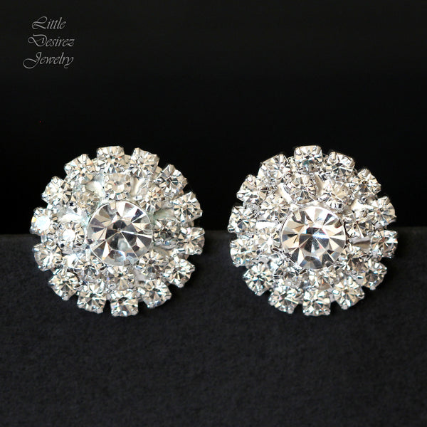 Rhinestone Bridal Stud Earrings Hollywood Glamour