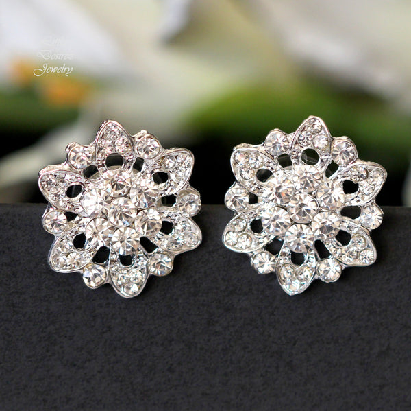 Rhinestone Crystal Flower Earrings AVA