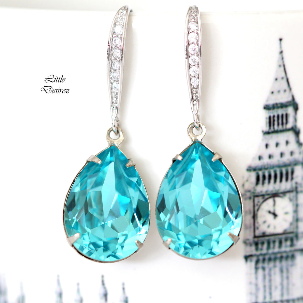Blue Crystal Pear Earrings Bridesmaid Jewelry TQ-31