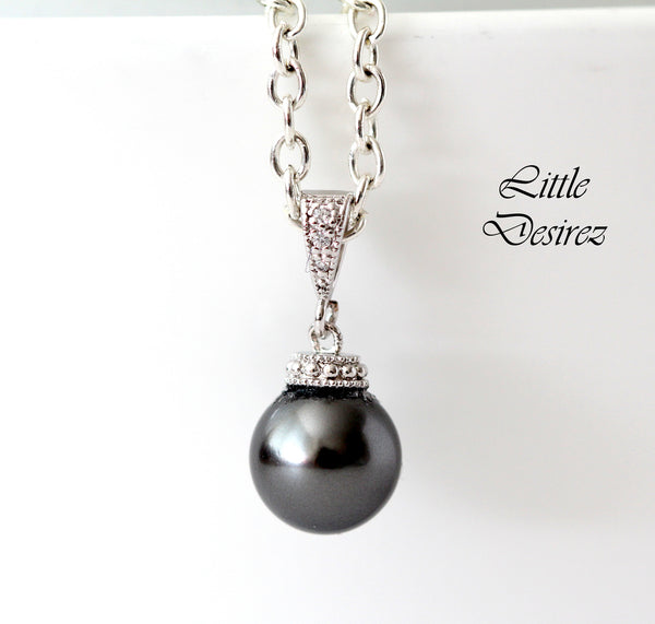 Dark Grey Pearl Necklace Pearl Necklace P44N