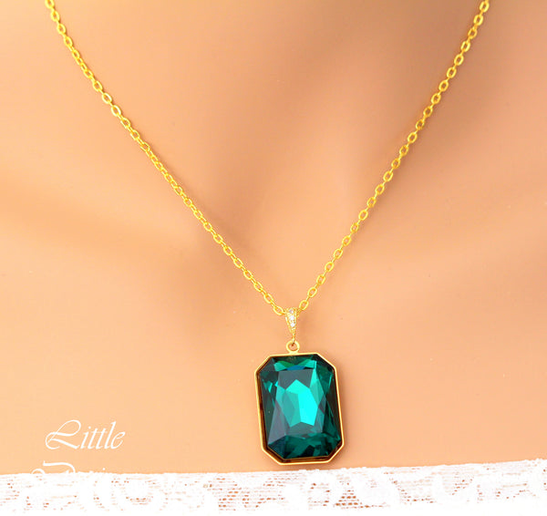 Emerald Green and Gold Necklace Swarovski Large Crystal EM-41