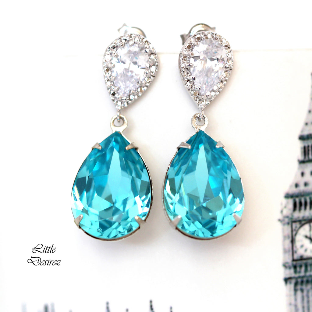 Blue Earrings Turquoise Blue Bridal Earrings TQ-31