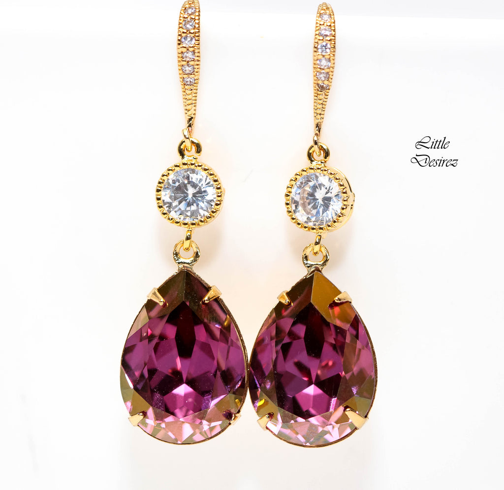 Purple and Gold Earrings LS-31