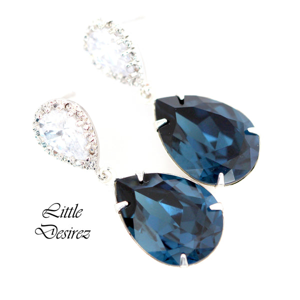 Navy Blue Crystal Earrings MO-31