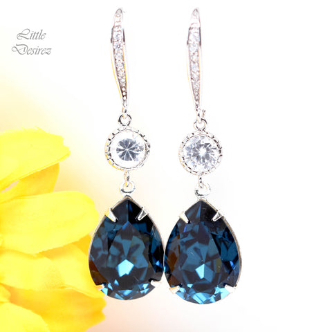 Blue Dangle Earrings MO-31