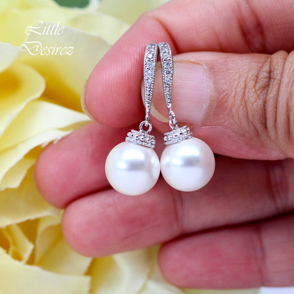 White Pearl Earrings Ivory Pearl Earrings Pearl Jewelry P44H