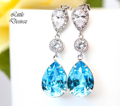 Blue Crystal Earrings AQ-31