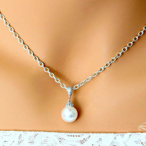 Ivory Pearl Wedding Necklace Pearl Wedding Jewelry P44N