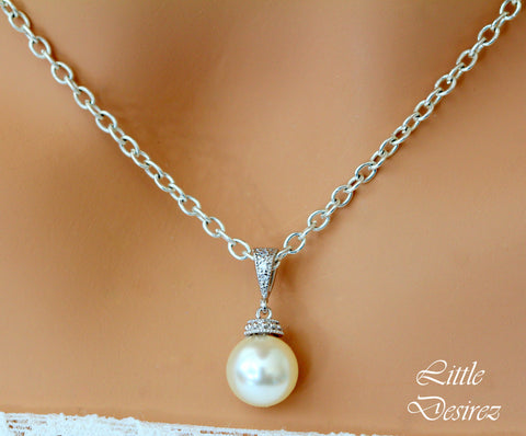 Cream Pearl Necklace Pearl Pendant Necklace P44N