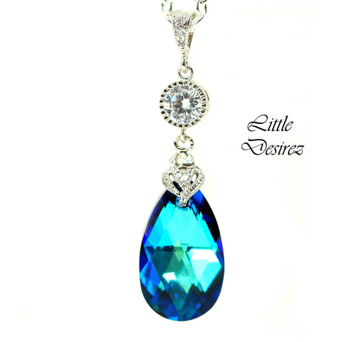 Bermuda Blue Swarovski Necklace BB-32