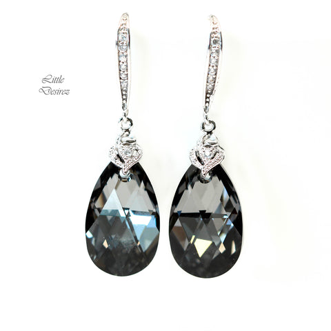 Grey Earrings Swarovski Silver Night SN-32