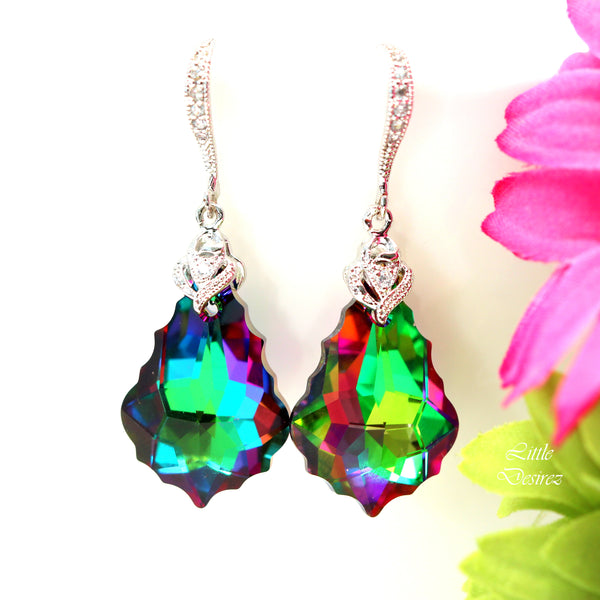 Green and Pink Earrings Colorful Bridesmaid Earrings EL-30