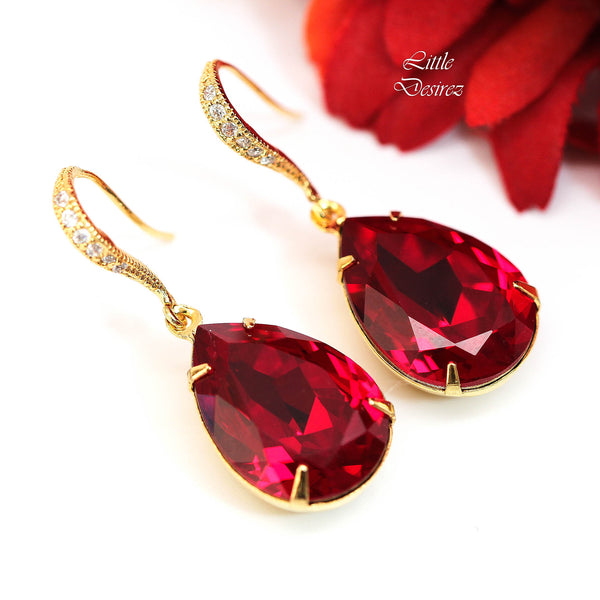 Red Crystal Earrings and Necklace Set SI-31