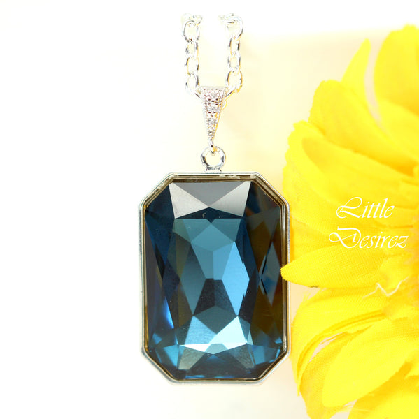 Navy Blue Necklace Emerald Cut Stone MO-41