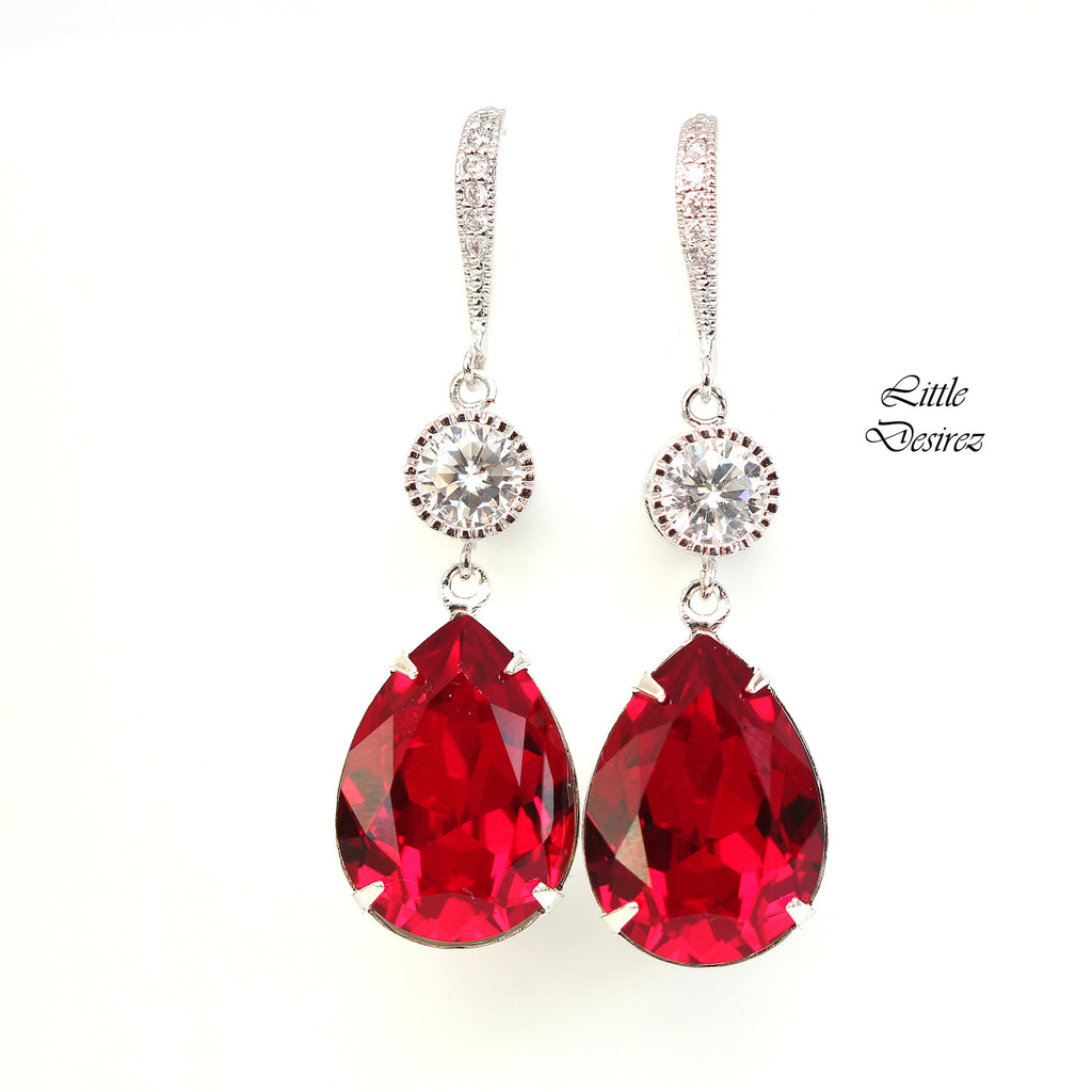 com jewelry red earrings heart amazon dp swarovski stud crystal