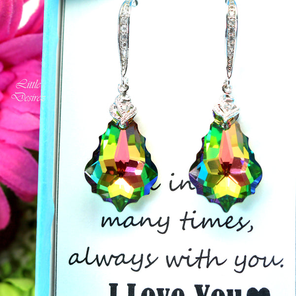 Pink and Green Earrings Swarovski Vitrail Medium VM-30