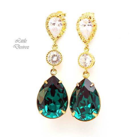 Green Crystal Earrings EM-31