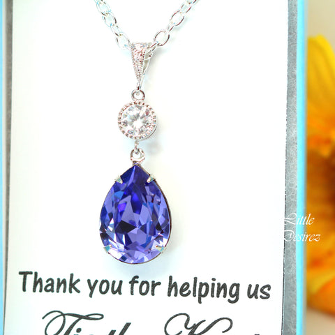 Purple Teardrop Necklace TZ-31
