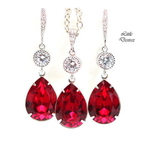 Dark Red Earrings & Necklace Set SI-31