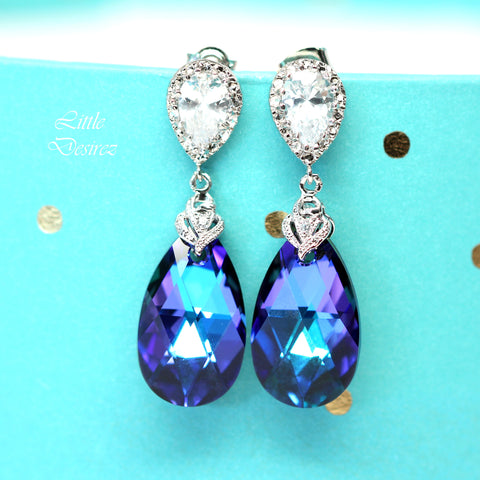 Purple Crystal Earrings HE-32