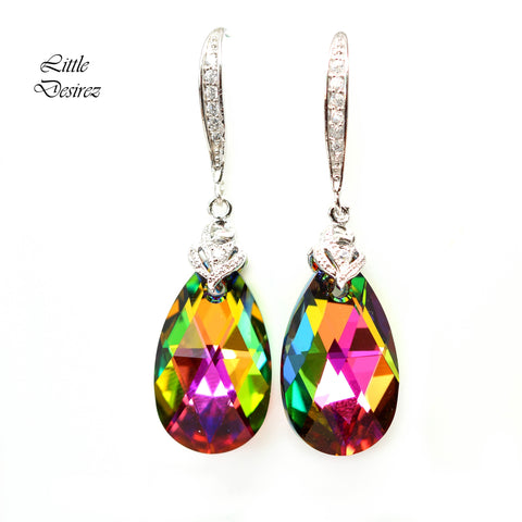Pink and Green Earrings Vitrail Medium VM-32