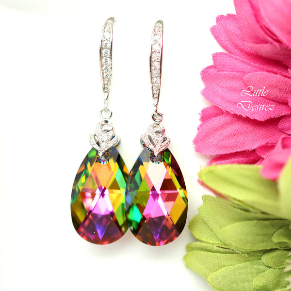 Pink Green Earrings and Necklace Set Bridesmaid Jewelry VM-32