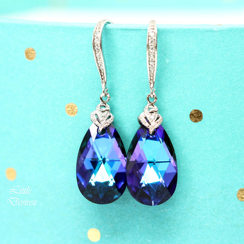 Blue Purple Wedding Earrings HE-32