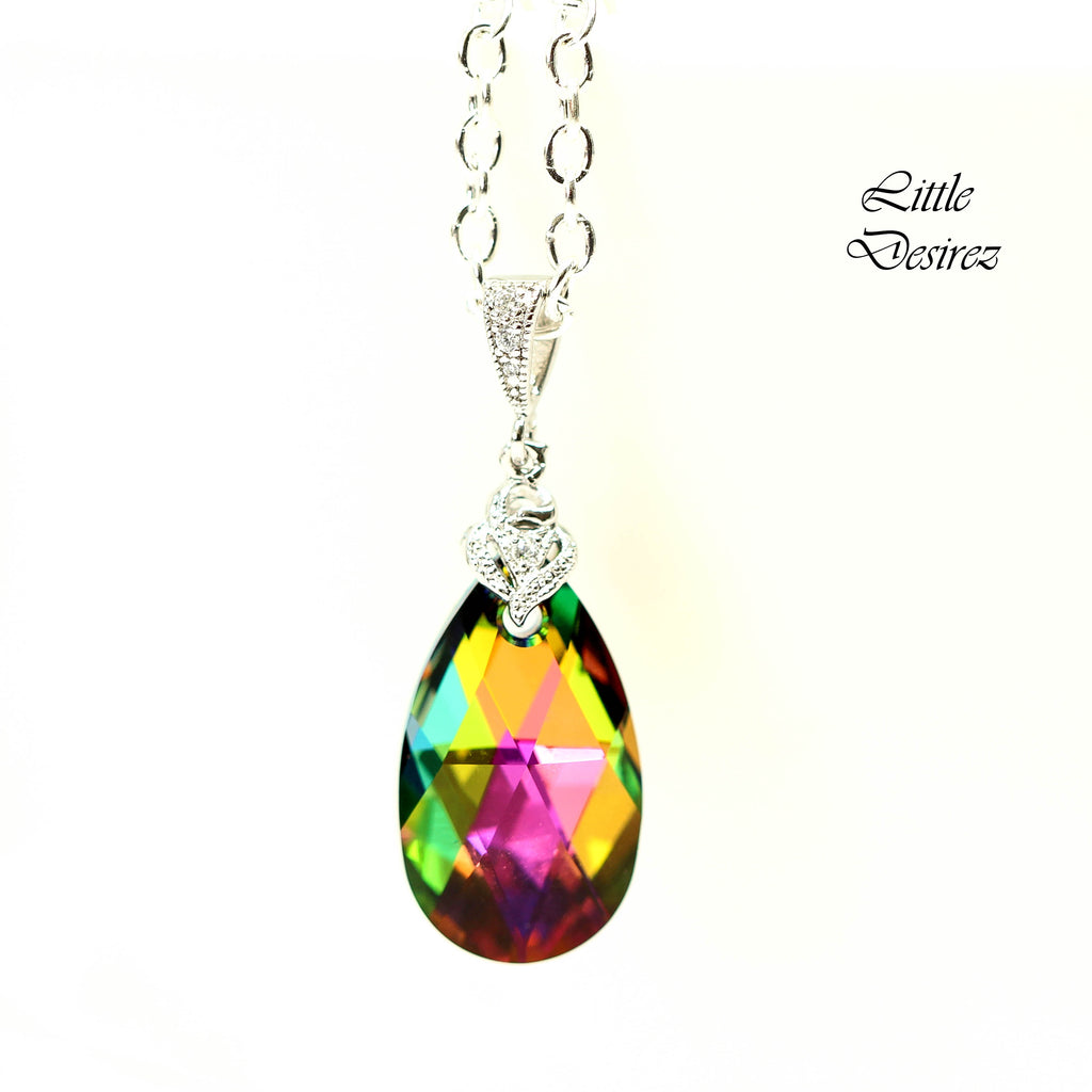 Pink and Green Swarovski Necklace VM-32