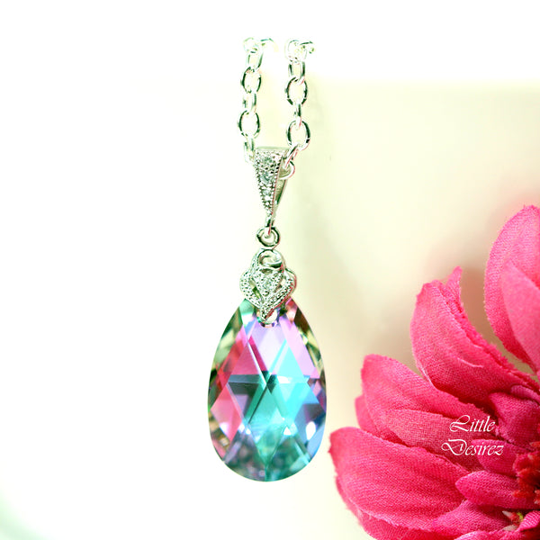 Purple Pink Necklace Swarovski Vitrail Light VL-32