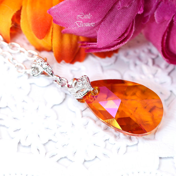 Crystal Necklace Pendant Necklace Orange and Pink AP-32