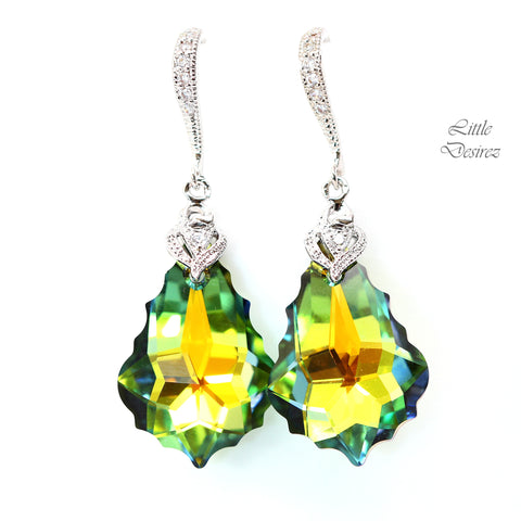 Green and Yellow Earrings Swarovski Sahara Crystal SA-30